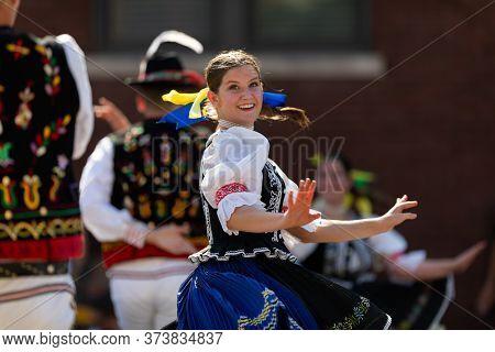 Whiting, Indiana, Usa - July 27, 2019: Pierogi Fest, Slovakian Dancers Wearing Traditional Clothing