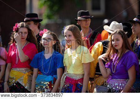Whiting, Indiana, Usa - July 27, 2019: Pierogi Fest, Slovakian Dancers, Wearing Traditional Clothing