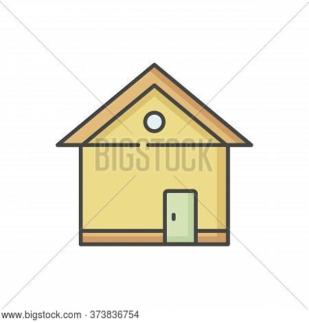House Rgb Color Icon. Home Front. Building Exterior. Residential Construction. Real Estate. Private