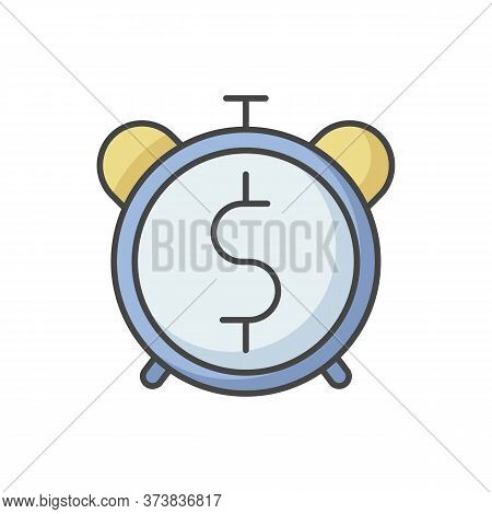 Countdown To Payout Rgb Color Icon. Alarm Clock With Dollar Sign. Future Fund. Money Viability. Fina