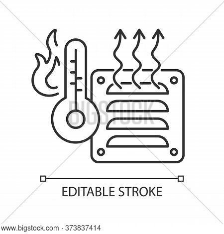 Electric Heater Linear Icon. Air Heating Device, Domestic Amenity Thin Line Customizable Illustratio