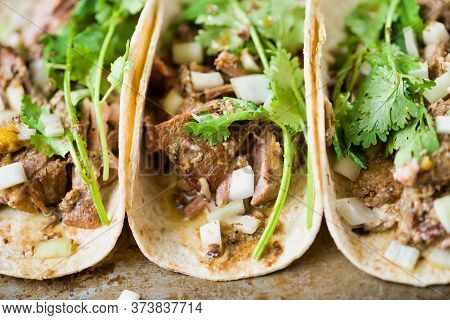 Close Up Of Rustic Mexican American Pork Carnitas Taco Street Food
