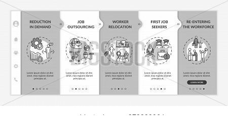 Unemployment Causes Onboarding Vector Template. Reasons For Joblessness, Labor Market Crisis Factors