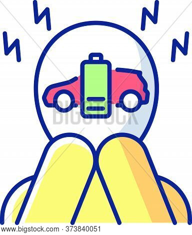 Range Anxiety Rgb Color Icon. Electric Vehicle Owner Stress, Psychological Problem. Fear Of Low Ev B