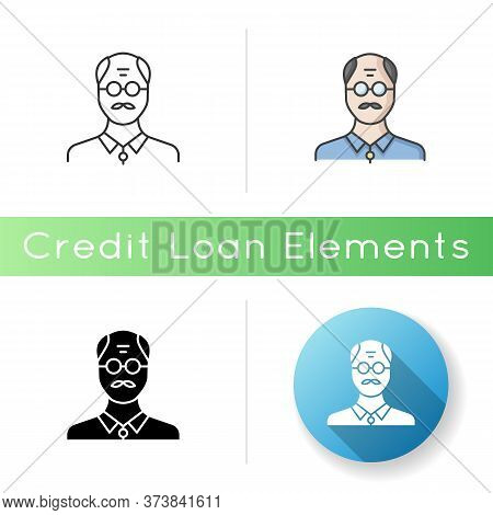 Senior Man Icon. Male Elder. Old Person. Grandfather With Mustache. Middle Age Human Avatar. Mature