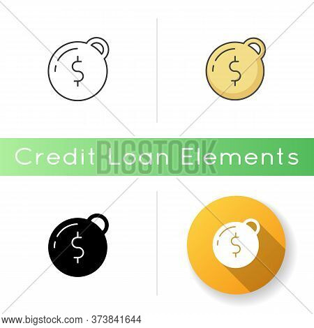Heavy Debt Icon. Economic Depression. Financial Recession. Tax To Pay. Prison Ball With Dollar Sign.