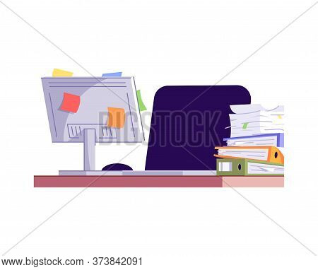 Empty Workplace Semi Flat Rgb Color Vector Illustration. Messy Workspace Isolated Cartoon Object On