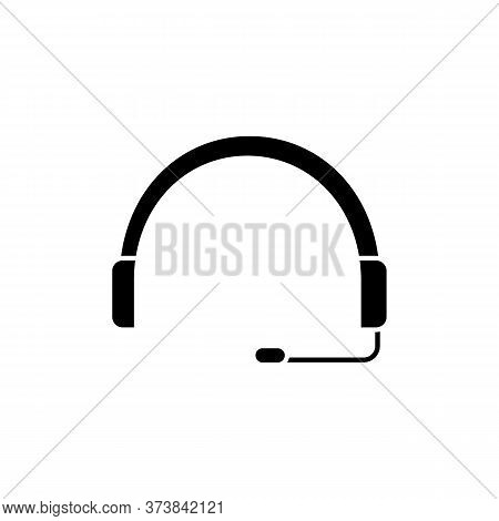 Headset Black Glyph Icon. Headphones For Operator. Online Customer Support Service. Helpline To Assi