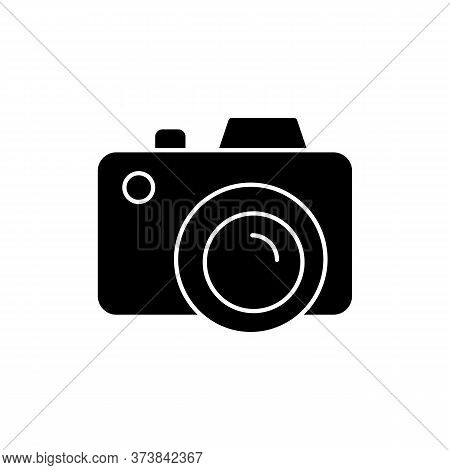 Camera Black Glyph Icon. Freelance Photographer. Take Picture. Photography Device. Shoot Snapshot. F