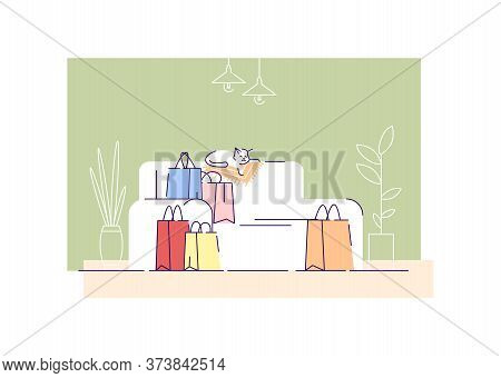 Shopping Bags On Couch Semi Flat Vector Illustration. Living Room With Sofa And Store Packages 2d Ca