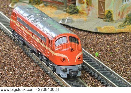 Perfect Model Of The Diesel Locomotive. Train Hobby Model On The Model Railway.