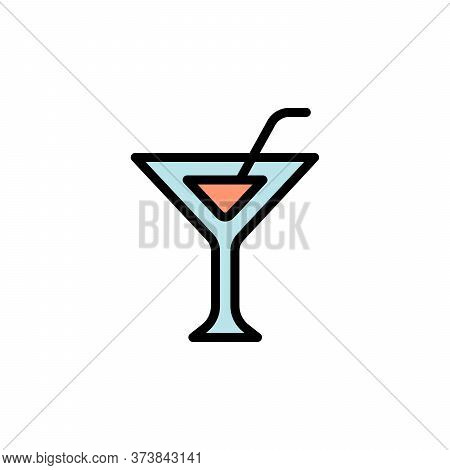 Martini Glass Colored Icon. Simple Color Element Illustration. Martini Glass Concept Outline Symbol