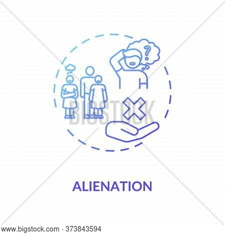 Alienation Blue Gradient Concept Icon. Problem With Individual Integration In Society. Human Interac