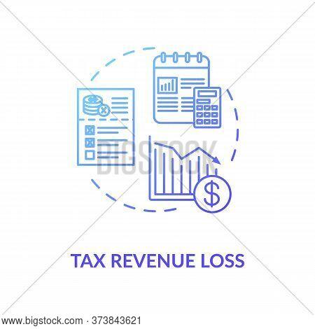 Tax Revenue Loss Blue Gradient Concept Icon. Business Profit Reduction. Crisis In Industry. Financia