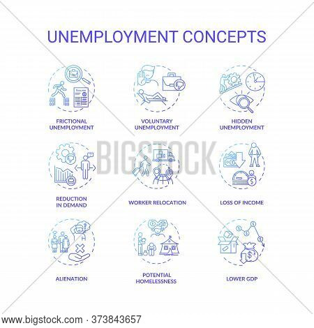 Unemployment Type Blue Gradient Concept Icons Set. Potential Homelessness. Lower Gross Domestic Prod