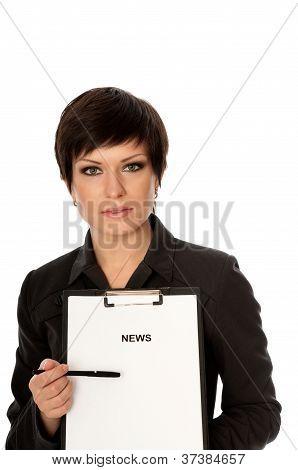 Journalist preparing hot news for TV spots poster