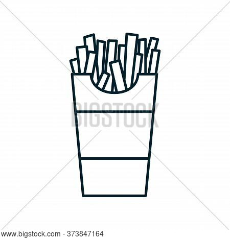 French Fries Icon. Vector Flat Outline Illustration Of A French Fries In A Cardboard Box. Represents