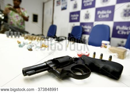 Salvador, Bahia / Brazil - March 3, 2016: Revolver And Ammunition Seized By The Civil Police In The