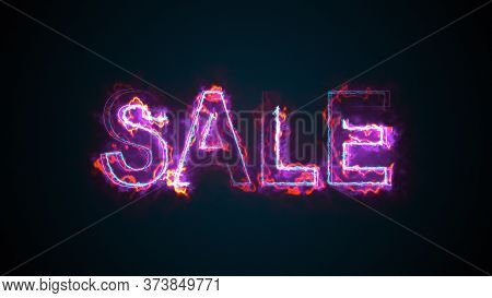 The Word Sale, Computer Generated. Burning Inscription Consists Of Capital Letters. 3d Rendering Of