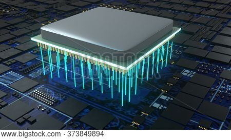 Central Computer Processors, Computer Generated. 3d Rendering Of Cpu Concept. The Technological Back