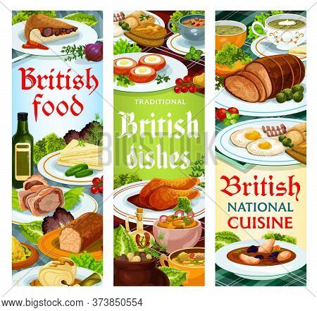 British Food Vector Meals English Dishes Kok-e-liki Scotch Soup, Cod With Sauce And Scotch Smoked Tr