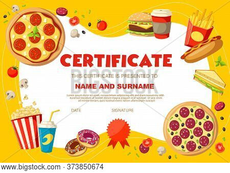 Kids Diploma With Snacks And Drinks. Certificate Vector Template With Pizza, Soda Drink And Hot Dog,