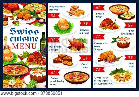 Swiss Food Cuisine Restaurant Vector Menu Template With Meat Dishes And Pastry Desserts. Gingerbread