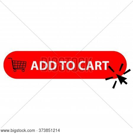 Add To Cart Icon On White Background. Shipping Cart Sign. Arrow Clicking Symbol. Flat Style.