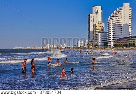 Cartagena, Colombia, 12.16.2018, At The Tourist Beach At The Caribbean Sea In Cartagena