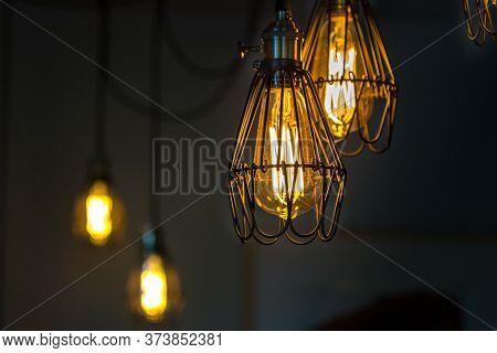 Vintage Led Filament Light Bulbs Hanging, Indoors.