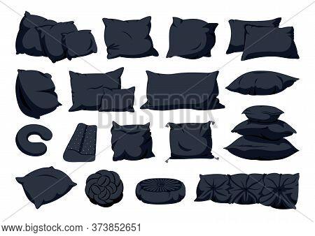 Black Pillow Flat Cartoon Big Set. Home Interior Textile. Pillows Square, Knot With Tassels, Pillow