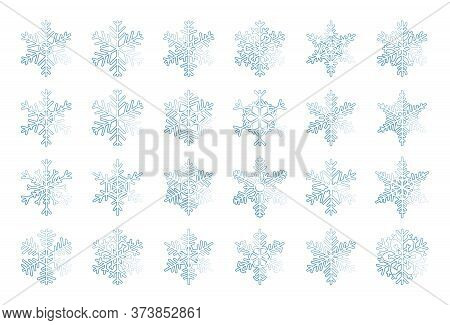 Frost Snowflakes Blue Thin Line Set. Winter Ice Crystal Element Of Christmas Ornament. Weather Icons