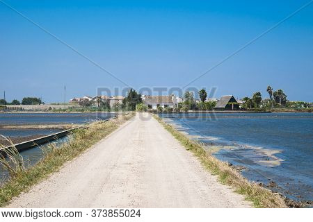 Village Road Among Rice Fields Near The Lagoon Of Valencia, Spain. Freshly Planted Rice Fields.