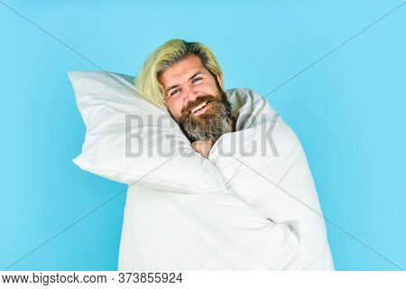 Just Relaxing. Carefree Guy Enjoying A New Day. Good Morning Routine. Caucasian Bearded Guy Wrapped