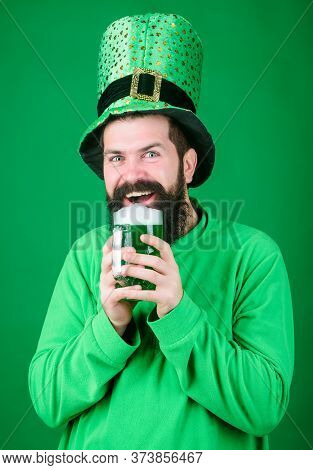 Dyed Green Traditional Beer. Alcohol Beverage. Lets Start Patricks Party. Irish Tradition. Man Bruta