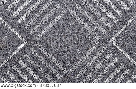 Abstract Image Aerial View Of White Pedestrian Crosswalk Or Zebra Crossing On Asphalt Street Road.