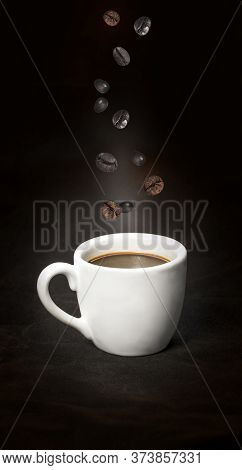 Cup Of Coffee With  Coffee Beans For Represent For Coffee Smell