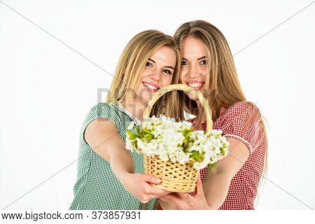 Rustic Style Girls Gathering Flowers Together. Flowers Shop. Natural Fragrance. Girl Carry Flowers I