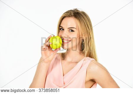 Teeth Whitening. Woman Hold Apple. Fresh And Juicy Snack. Girl Live Healthy Life. Apple Organic Frui