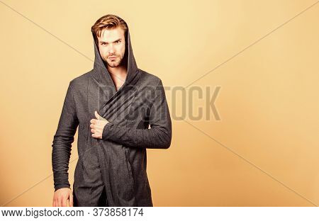 He Got Great Style. Guy Fashion Model. Man In Trendy Hooded Jacket. Sexy Macho In Denim Style. Perfe