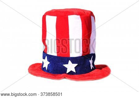 American Flag Hat. USA Flag Top Hat. Isolated on white. Party Hat for American Holidays. 4th of July Party Hat. Proud to be American.