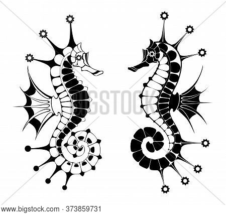 Two Contour Steampunk Seahorses On A White Insulated Background.