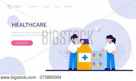 Drugstore And Pharmacist Concept. Collection Of Pharmacy Drug In Bottle And Box. Medication Concept.