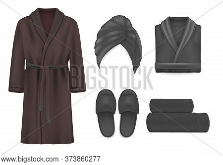 Black Spa Apparel Mockup Set, Vector Isolated Illustration