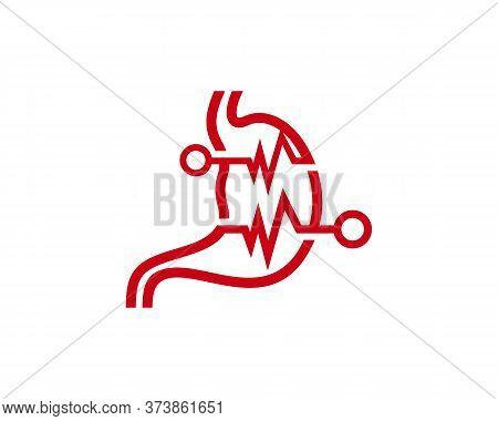 Stomach Pulse Logo Vector Template, Creative Stomach Logo Design Concepts