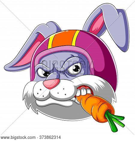 Rabbit Wearing Helmet Of Racer Of Illustration