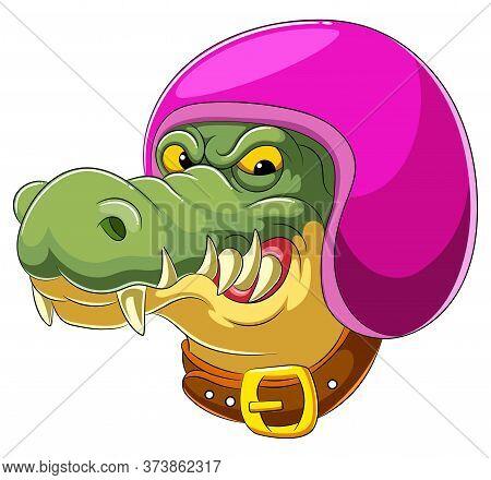 Crocodile Wearing Helmet Of Racer Of Illustration