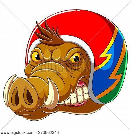 Wild Boar Wearing Helmet Of Racer Of Illustration