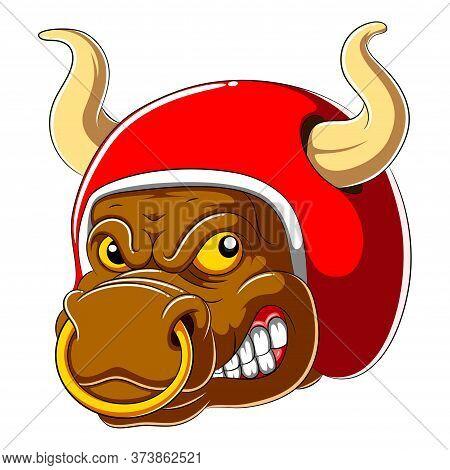 Bull Wearing Helmet Of Racer Of Illustration