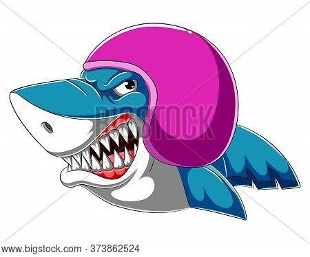 Shark Wearing Helmet Of Racer Of Illustration